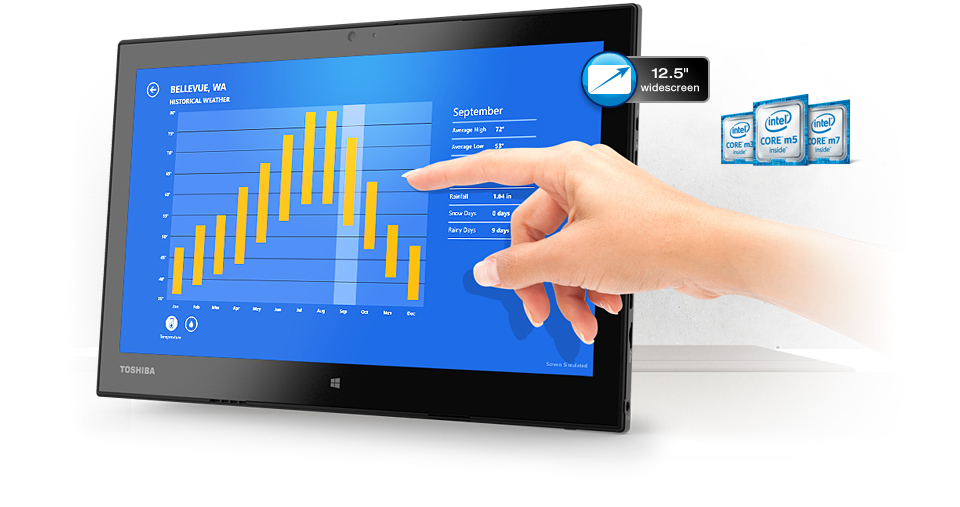 Brilliant 12.5-inch IPS Full FD touchscreen display.