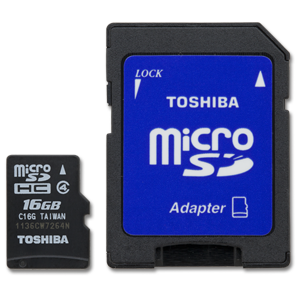 Toshiba 16GB MicroSD with STD Adapter