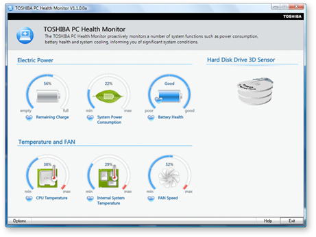Toshiba PC Health Monitor Screenshot